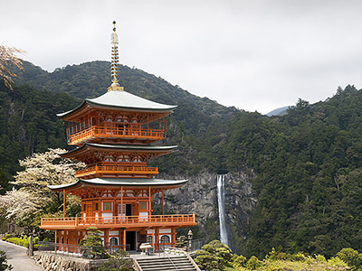 Pagoda Of Seiganto-ji Temple With Nachi Falls