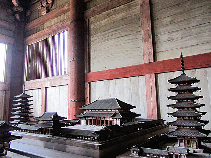Model of the old Todaiji Temple within Daibutsuden in Nara