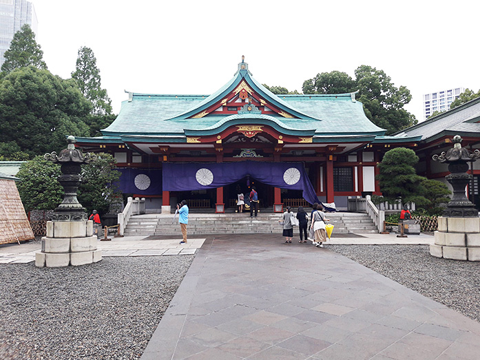 Haiden Hall of Worship at Akasaka Hie Shrine in Tokyo